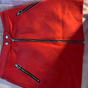 Red forever 21 skirt with stickers never worn